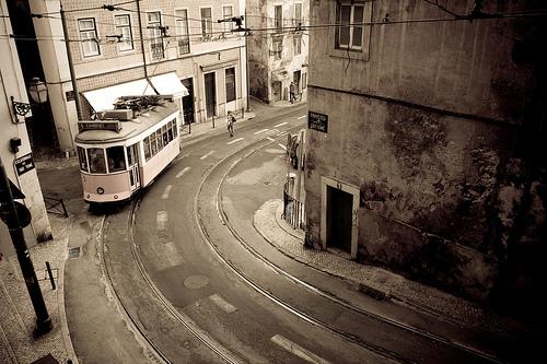 Tram 28 in Castelo, Lisbon